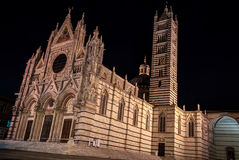 Siena Cathedral. (Duomo di Siena) at night, Italy.Historic centre of Siena is at Unesco World Heritage List Royalty Free Stock Images