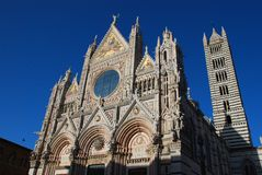 Siena Cathedral, spire, building, landmark, cathedral. Siena Cathedral is spire, cathedral and architecture. That marvel has building, place of worship and royalty free stock images