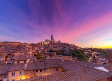 Siena. Cathedral at sunset. Stock Images