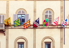Siena city flags in Italy Stock Photography