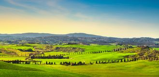 Siena city skyline, countryside and rolling hills. Tuscany, Ital. Siena city panoramic skyline, countryside and rolling hills in a misty day. Tuscany, Italy Stock Photos