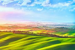 Siena city skyline, countryside and rolling hills. Tuscany, Ital Royalty Free Stock Image