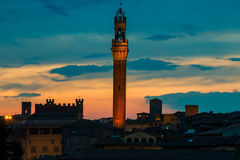 Siena cityscape på skymning med berömda Torre del Mangia italy tuscany Royaltyfri Foto