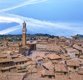 Siena downtown, Campo Square Piazza del Campo at sunset Royalty Free Stock Photos