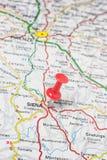 Siena fijó en un mapa de Italia Fotografía de archivo libre de regalías