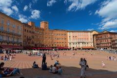 SIENA, ITALY – MAY 25, 2017: Campo Square Piazza del Campo, Palazzo Pubblico and Mangia Tower Torre del Mangia. Stock Photo