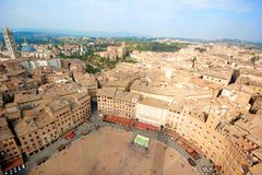 Siena, Italy. Siena, aeral view from the Tower of Piazza del Campo - Italy Royalty Free Stock Images