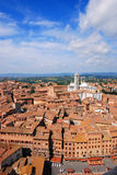 Siena, Italy. An aerial view of the Dome in Siena, Italy. Rows of old brick buildings in concentric circles Stock Photo
