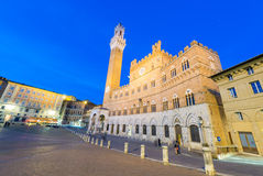 SIENA, ITALY - APRIL 3, 2016: Piazza del Campo with tourists on Royalty Free Stock Images