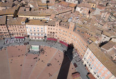 Siena, Italy. Campo Square top view Royalty Free Stock Photography