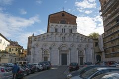 A church on a square in Lucca center royalty free stock photos