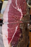 Typical tuscany ham. Siena italy hand cutting typical tuscany ham stock photography