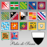 SIENA - ITALY - JULY 2016 - Palio of Siena, flag of the caterpillar contrada, Tuscany stock photos