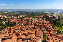Siena, Italy panoramic rooftop city view. Tuscany region Royalty Free Stock Photography