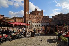 Restaurants on the Piazza del Campo in Siena, Italy