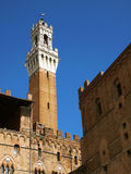 Siena, Italy. Torre del mangia. Medieval Torre del Mangia, backview Stock Image