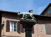 Siena. Italy. She-wolf with Romulus and Remus. Royalty Free Stock Photo