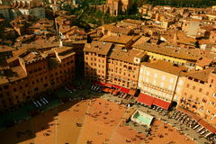 Siena Italys Il Campo-Quadrat von oben Lizenzfreie Stockbilder