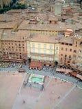 Siena-Marktplatz vom belltower Stockfoto