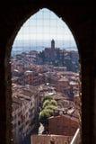 Siena meningen van de ochtend de panoramische stad Stock Afbeelding