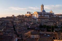 Siena meningen van de ochtend de panoramische stad Stock Afbeeldingen