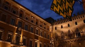 Siena by night. Italy, tuscany, wonderful siena by night stock video footage