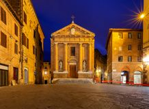 Siena. Old city street at night. An old traditional street with a cobblestone street at night. Siena. Tuscany. Italy Royalty Free Stock Photo