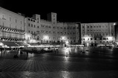 Siena, piazza del campo at night Stock Photos