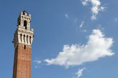 Siena Public Palace's Tower. The tower of the Palazzo Pubblico of Siena from below.Tuscany,Italy Royalty Free Stock Image
