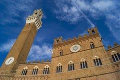 Siena - sikt till det huvudsakliga tornet Arkivbild