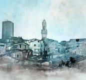 Siena skyline photo manipulation. Siena medieval landscape - Ink, pencil and watercolor sketch vector illustration