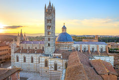Siena sunset view. Cathedral landmark. Tuscany, royalty free stock photography