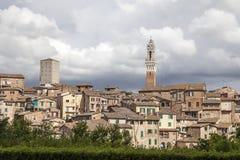 Siena Torre del Mangia (Palazzo Pubblico) på piazza del Campo, Tuscany, Italien Arkivbilder