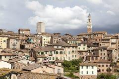 Siena, Torre del Mangia (Palazzo Pubblico) at the Piazza del Campo, Tuscany, Italy Stock Photography