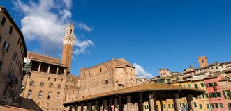 Siena Toscana Italy - Torre del Mangia Royaltyfri Foto