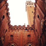 Siena Town Hall and Bell Tower. Inner yard view. Stock Image