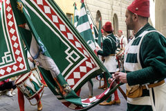 Siena tuscany italy europe flag bearers of the contrada Stock Images
