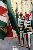 Siena tuscany italy europe flag bearers of the contrada Royalty Free Stock Photo