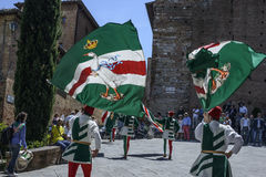 Siena tuscany italy europe flag bearers of the contrada Royalty Free Stock Photography