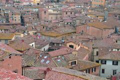 Siena, Tuscany, Italy. The medieval town from above. Stock Photos