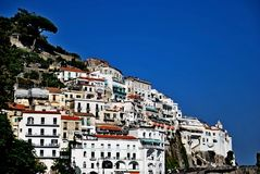 Amalfi coast Italy. Siena Tuscany Italy square  sky windows cloud tower colors country road street courts green door panorama sunset courts sleep square Royalty Free Stock Photography