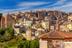 Siena. View of the old city district. Stock Photos