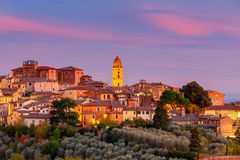Siena. View of the old city district. Old medieval district in the city Siena on the sunset. Tuscany. Italy Stock Image
