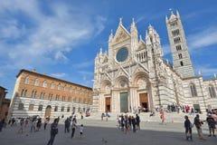 SIENA WŁOCHY, Październik, - 01, 2016: Przód Siena katedry wi Fotografia Stock