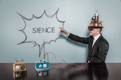 Sience concept with vintage businessman Stock Photography