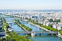 Siene河在巴黎从上面。 免版税库存照片