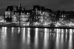 On Siene in the night in Paris. France royalty free stock image