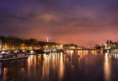 Siene river at night Stock Image