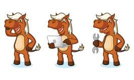 Sienna Horse Mascot con il computer portatile Fotografie Stock Libere da Diritti