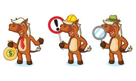 Sienna Horse Mascot with magnifying Stock Photos